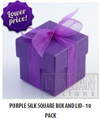 Purple silk square box and lid