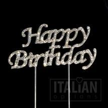 happy birthday diamante cake topper