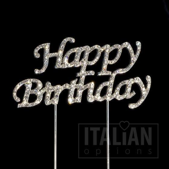 happy birthday diamante cake topper