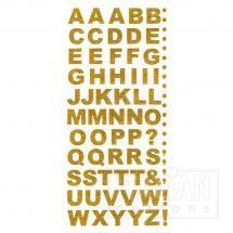 Bold Self Adhesive Alphabet Letters (15mm) Gold Glitter