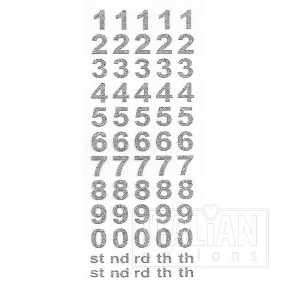 Bold Self Adhesive Numbers (15mm) Silver Glitter