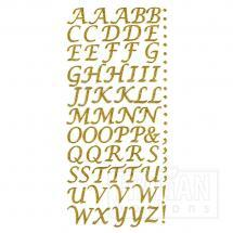 Script Self Adhesive Alphabet Letters (15mm) Gold Glitter