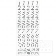 Script Self Adhesive Numbers (15mm) Silver Glitter