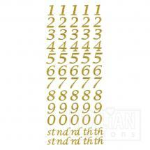 Script Self Adhesive Numbers (15mm) Gold Glitter