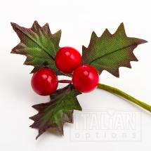 Berries and Holly Leaves Spray Red