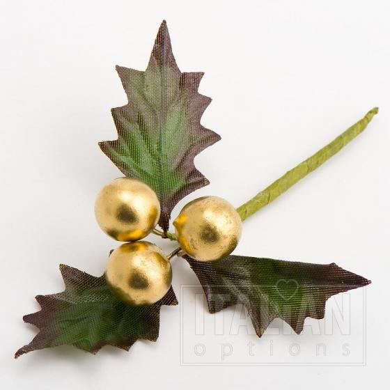 Berries and Holly Leaves Spray Gold
