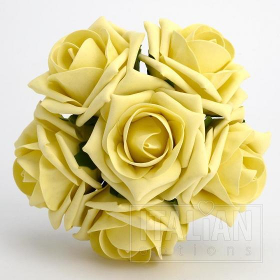 Lemon colourfast foam roses