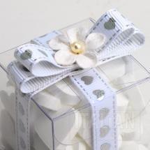 Hearts Ribbon 9mm x 20M Grosgrain - White/Silver