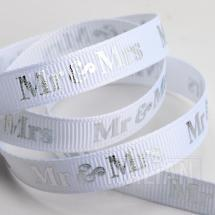 Mr & Mrs Ribbon 9mm x 20M Grosgrain -White/Silver