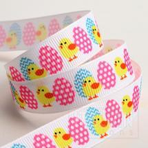 Easter Eggs & Chicks Grosgrain Ribbon 16mm x 5M