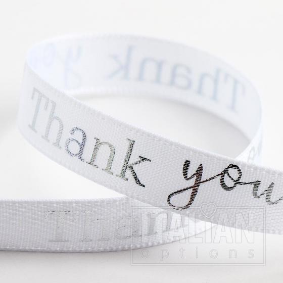 Thank You Ribbon 9mm x 20M Satin - White/Silver