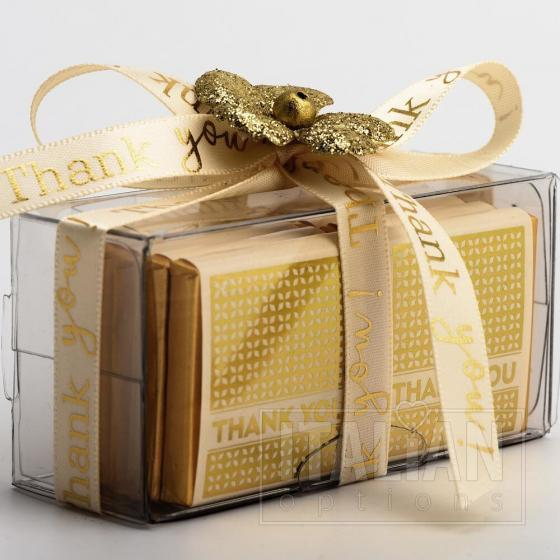 Thank You Ribbon 9mm x 20M Satin -Cream/Gold
