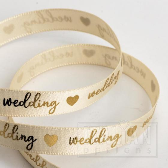 Wedding Ribbon 9mm x 20M Satin - Cream/Gold
