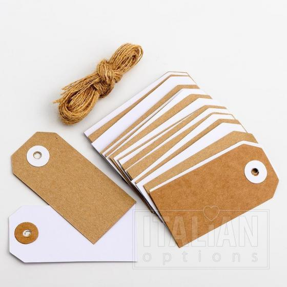 White & Kraft Tags with Jute String (24 Pack) 8x4cm