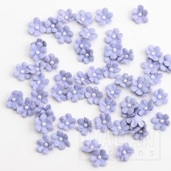 Glitter Paper Flowers Mini - Lilac (60 Pack)