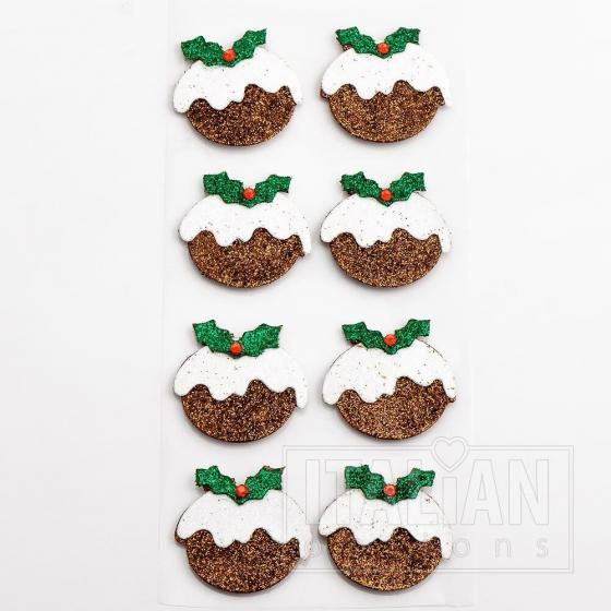Glitter Christmas Puddings (8 Pack)