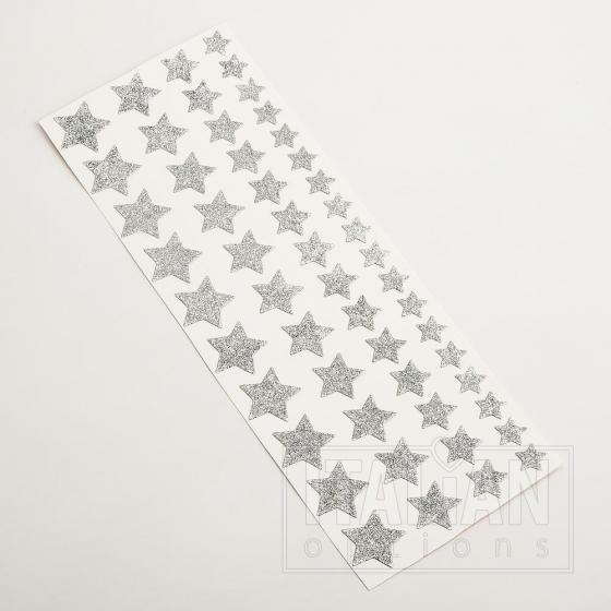 Glitter Stars Silver (53 Pack)