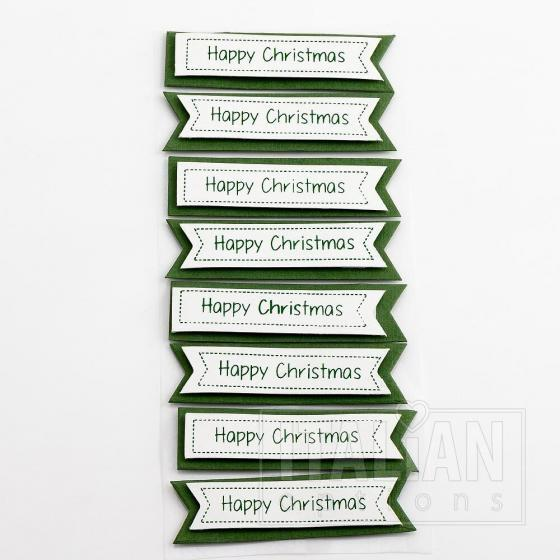 Happy Christmas Panels Green/White (8 Pack)