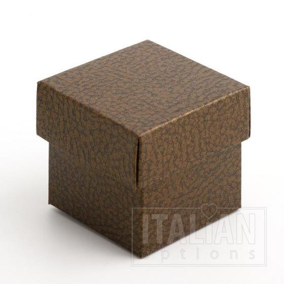 Brown Pelle - Square Box & Lid 50x50x50mm - 10 Pack