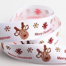 Merry Christmas Reindeer Satin Ribbon - 16mm x 5M - White