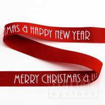 Merry Christmas/Happy New Year Grosgrain -16mm x 5M - Red