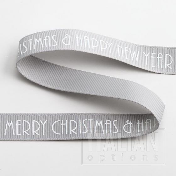 Merry Christmas/Happy New Year Grosgrain -16mm x 5M - Silver