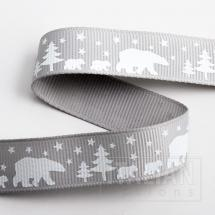 Polar Bears Christmas Grosgrain Ribbon -16mm x 5M - Silver