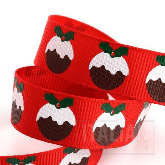 Christmas Puddings Grosgrain Ribbon - 16mm x 5M - Red