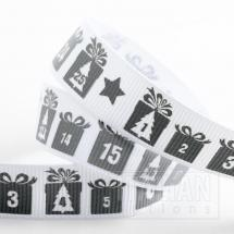 Advent Christmas Grosgrain Ribbon - 16mm x 5M - Silver