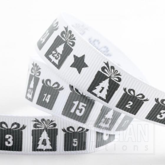 Advent Christmas Grosgrain Ribbon - 16mm x 5M - Silver