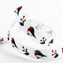 Robins Christmas Grosgrain Ribbon - 9mm x 5M - White