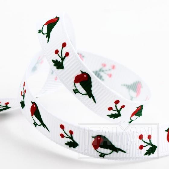 Robins Christmas Grosgrain Ribbon - 9mm x 5M - White