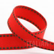 Stitched Edge Grosgrain Ribbon - 16mm x 5M - Red/Green