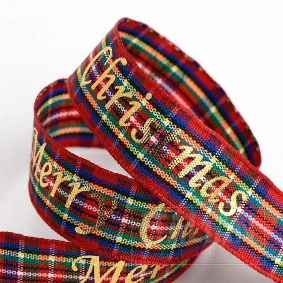 Merry Christmas Tartan/Gold Foil Ribbon - 16mm x 10M - Red