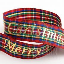 Merry Christmas Tartan/Gold Foil Ribbon - 25mm x 10M - Red