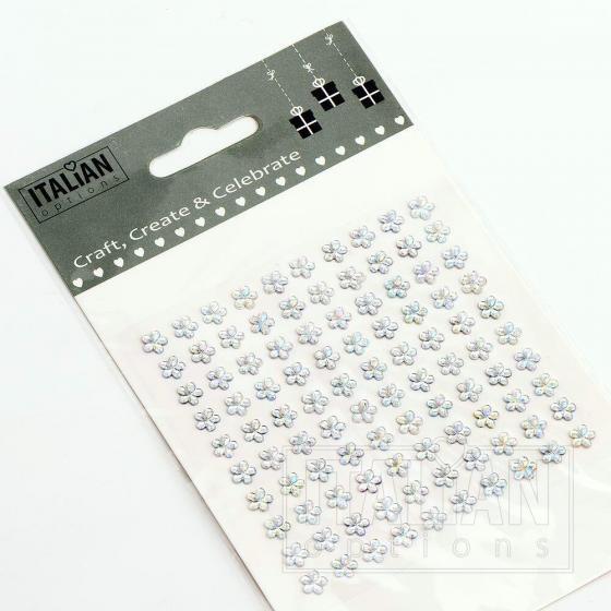 6mm - Flowers on Sheet - (100 pcs) - Iridescent