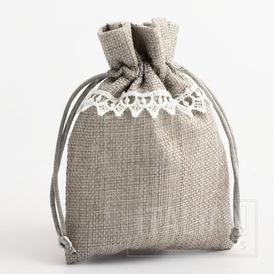 Linen Bag - Grey with White Lace - 100 x 140mm - 10 Pack