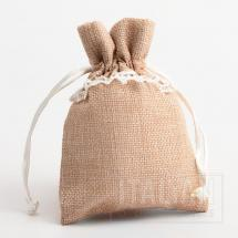 Linen Bag - Natural Beige with White Lace - 100 x 140mm - 10 Pack