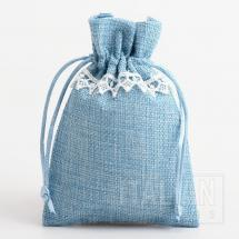 Linen Bag - Blue with White Lace - 100 x 140mm - 10 Pack