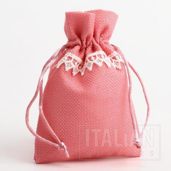 Linen Bag - Pink with White Lace - 100 x 140mm - 10 Pack