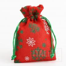 Fabric Bag - Red-White & Green Snowflakes -100x140mm-10 Pack