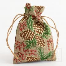 Hessian Bag Pine Cones / Glitter Berries-100x140mm-10 Pack