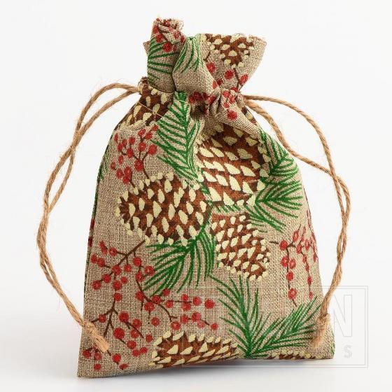 Hessian Bag Pine Cones / Glitter Berries-100x140mm-10 Pack