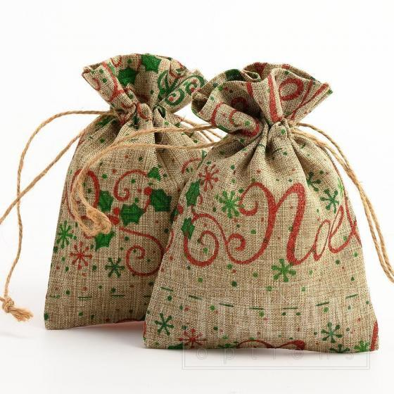 Hessian Bag Christmas Tree/Noel Glitter Swirl-100x140mm-10 Pack