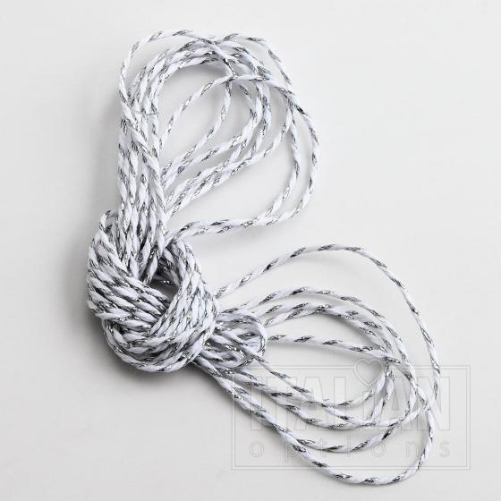 Bakers Twine 2mm x 50M - Metallic Silver / White