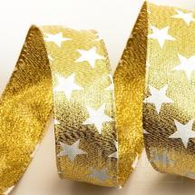 Stars Ribbon - Wired Edge 25mm x 10M - Gold