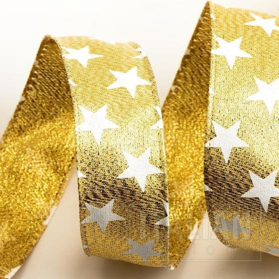 Stars Ribbon - Wired Edge 25mm x 10M - Gold