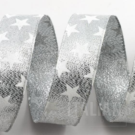 Stars Ribbon - Wired Edge 25mm x 10M - Silver