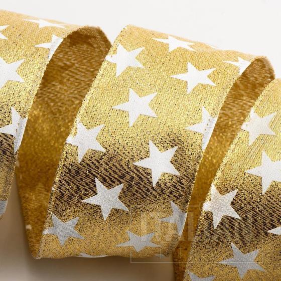 Stars Ribbon - Wired Edge 38mm x 10M - Gold