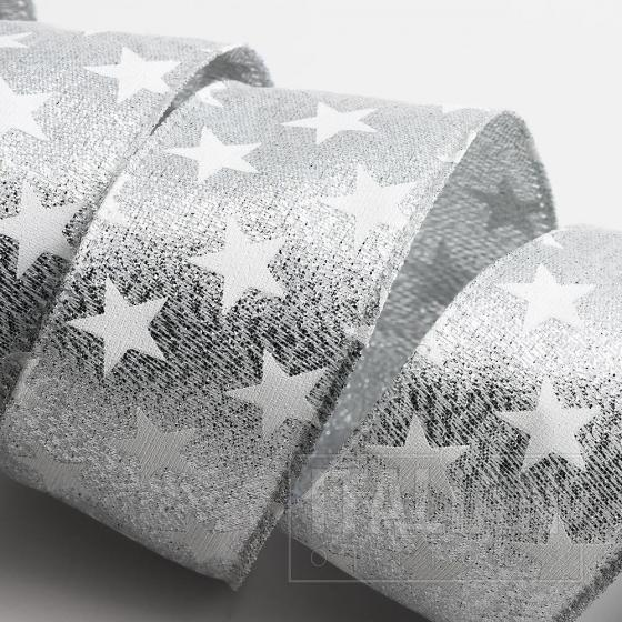 Stars Ribbon - Wired Edge 38mm x 10M - Silver